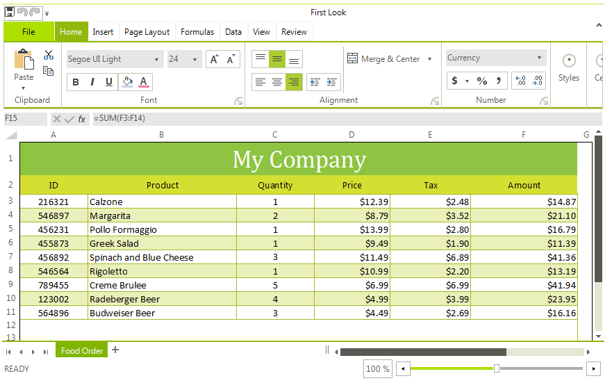 Telerik UI for WinForms Spreadsheet Control Overview Image