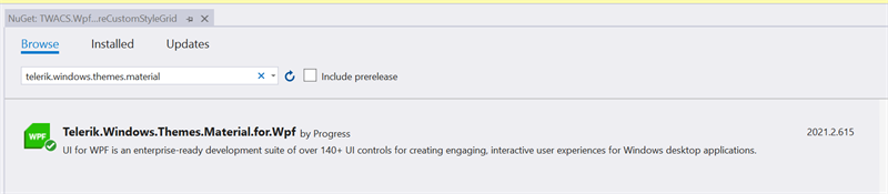 Figure 20 - Add Telerik.Windows.Themes.Material.for.Wpf NuGet Package