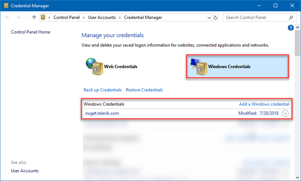 Credentials Manager interface with Windows credentials selected and Telerik list item visible.