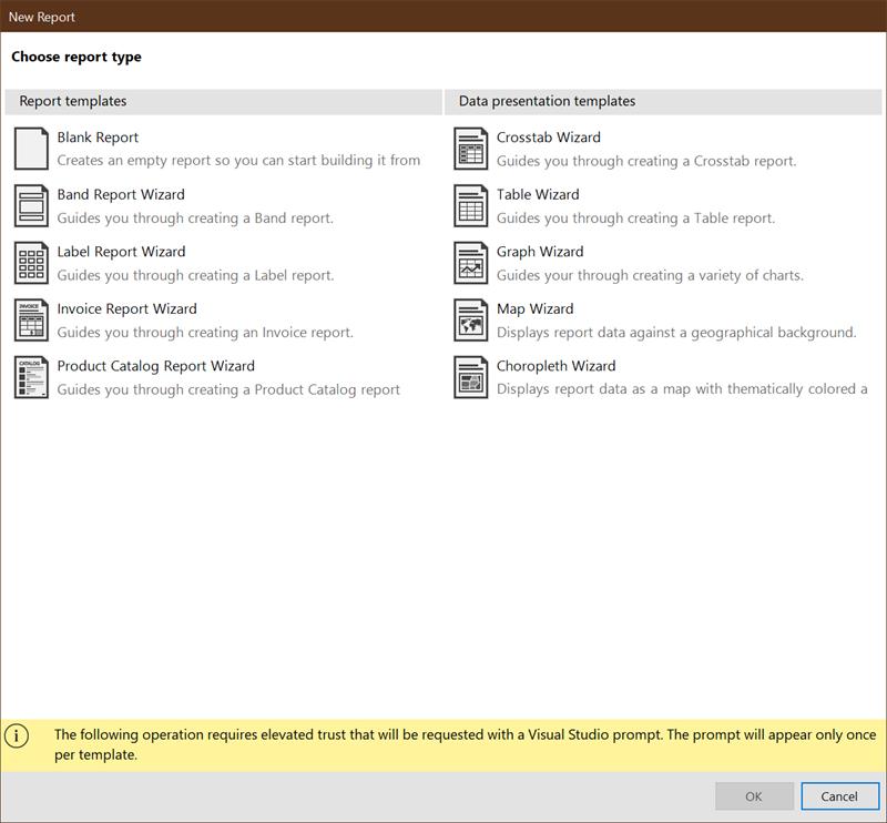 Visual Studio Designer Report Wizards