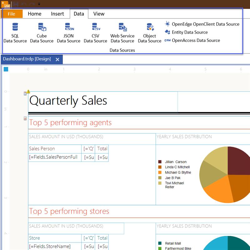 Standalone Report Designer Data Tab