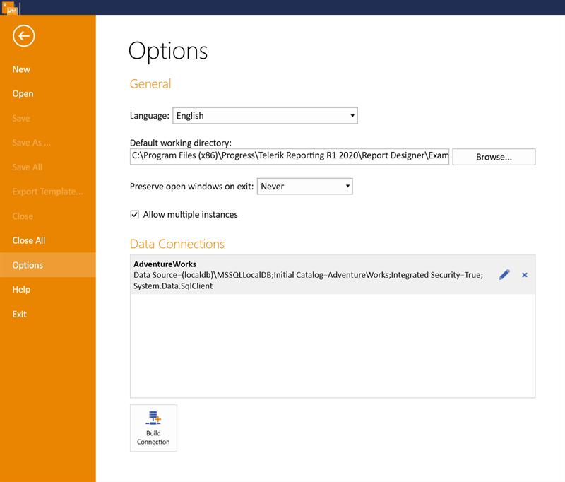 Standalone Report Designer Options Screen