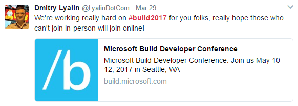 /Build 2017 Live Stream Tweet link image
