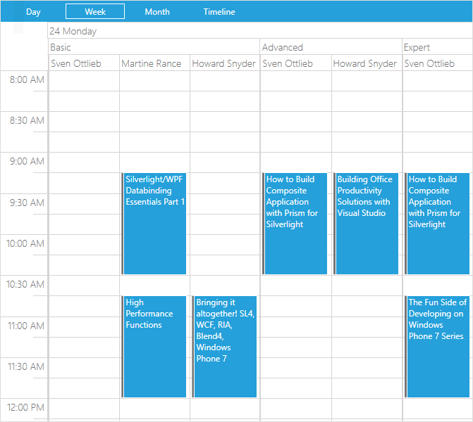 Telerik UI for WPF - RadSchedule View - hierarchical resource grouping