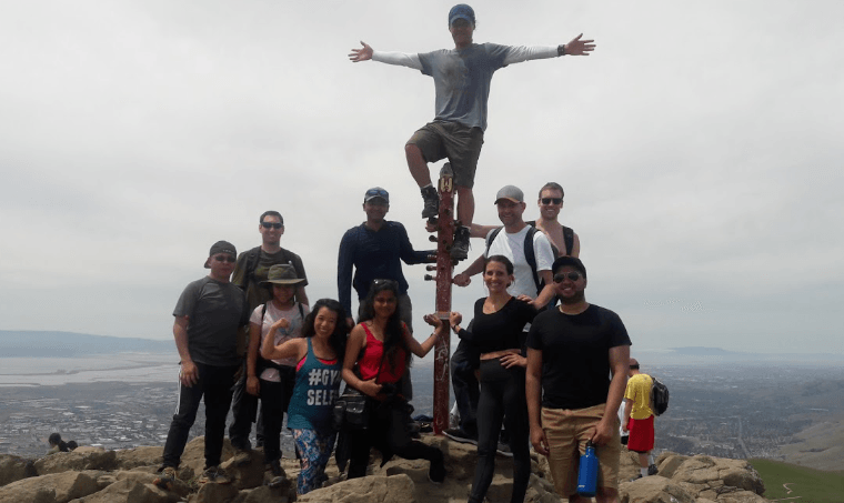 Hiking with my colleagues at Tesla