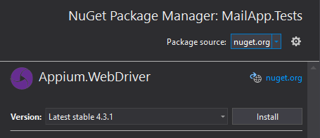 NuGet Pacakge Manager: MailApp.Tests sets the package source as nuget.org. There is a play button beside Appium.WebDriver, and a latest stable version with an Install button.