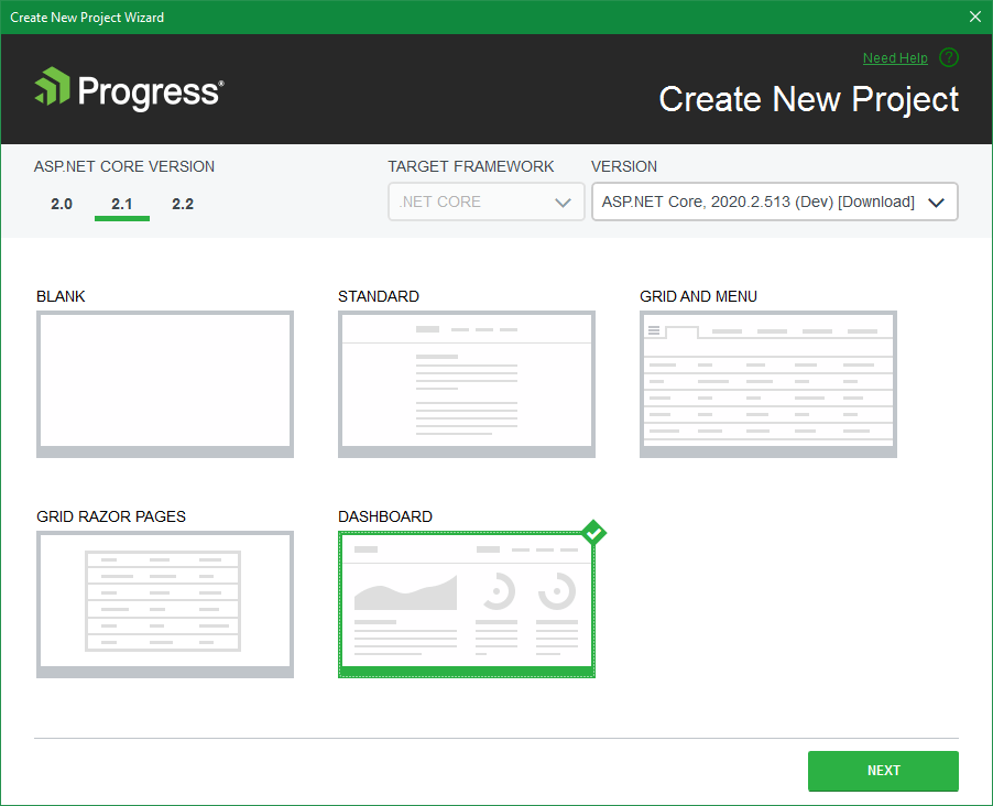 Telerik UI ASP NET Core Dashboard Project Template