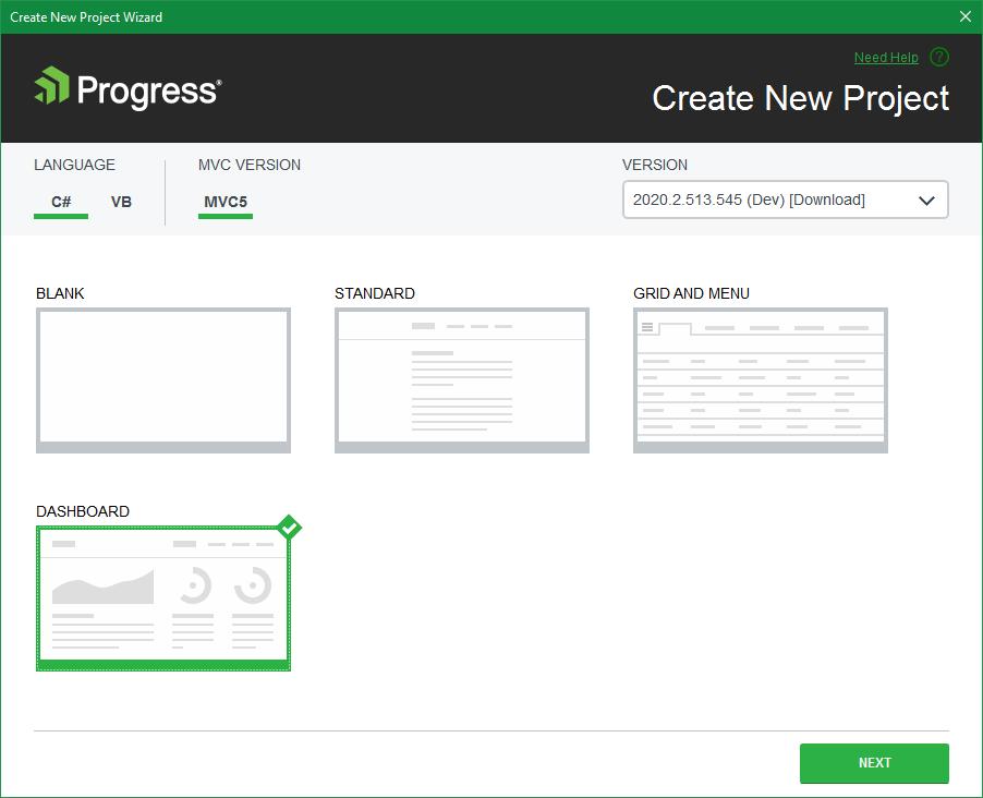 Telerik UI for ASP.NET MVC VS Project Dashboard Template