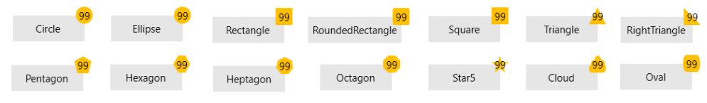 Badge Geometries show a variety of shapes of yellow badges with the number 99: circle, Ellipse, Rectangle, RoundedRectangle, Square, Triangle, Right Triangle, Pentagon, Hexagon, Heptagon, Octagon, Star5, Cloud, Oval.