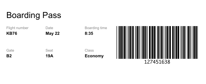 Telerik UI for Blazor Barcode Component, boarding pass with flight info and barcode