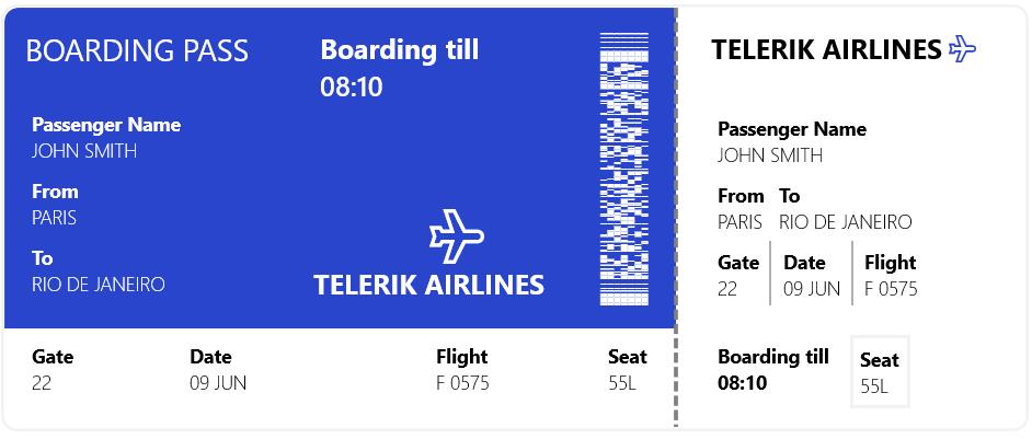 Telerik PDF417 Barcode Ticket