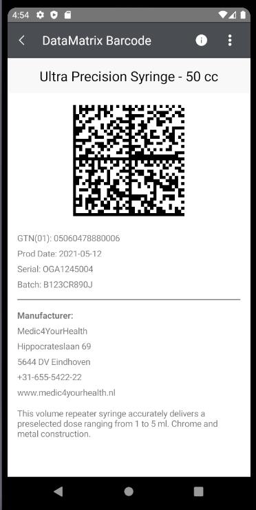 Telerik UI for Xamarin DataMatrix Barcode