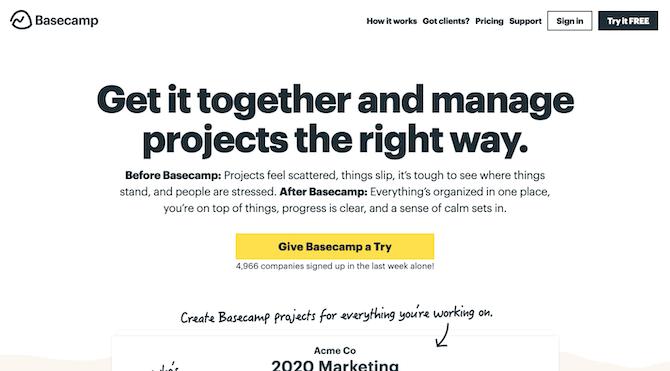 Basecamp Home Page