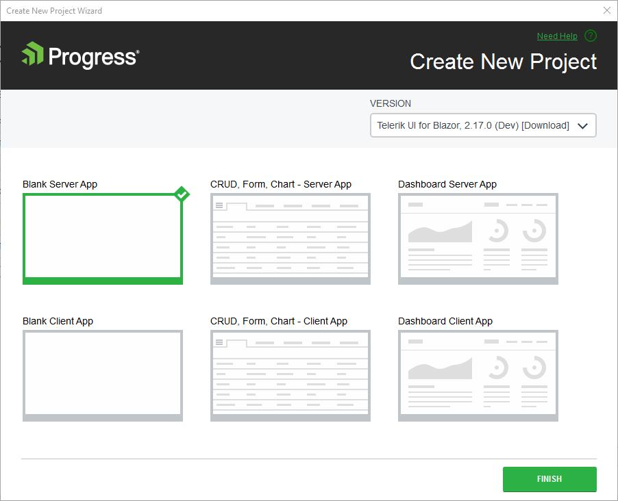 Telerik UI for Blazor Visual Studio Dashboard Project Template