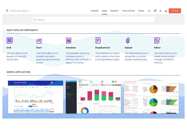 Telerik UI for Blazor Demos Hub Page