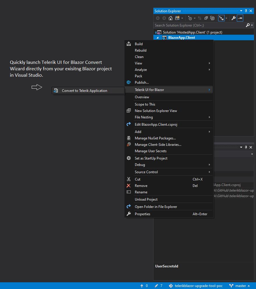 Telerik UI for Blazor Visual Studio Convert Wizard