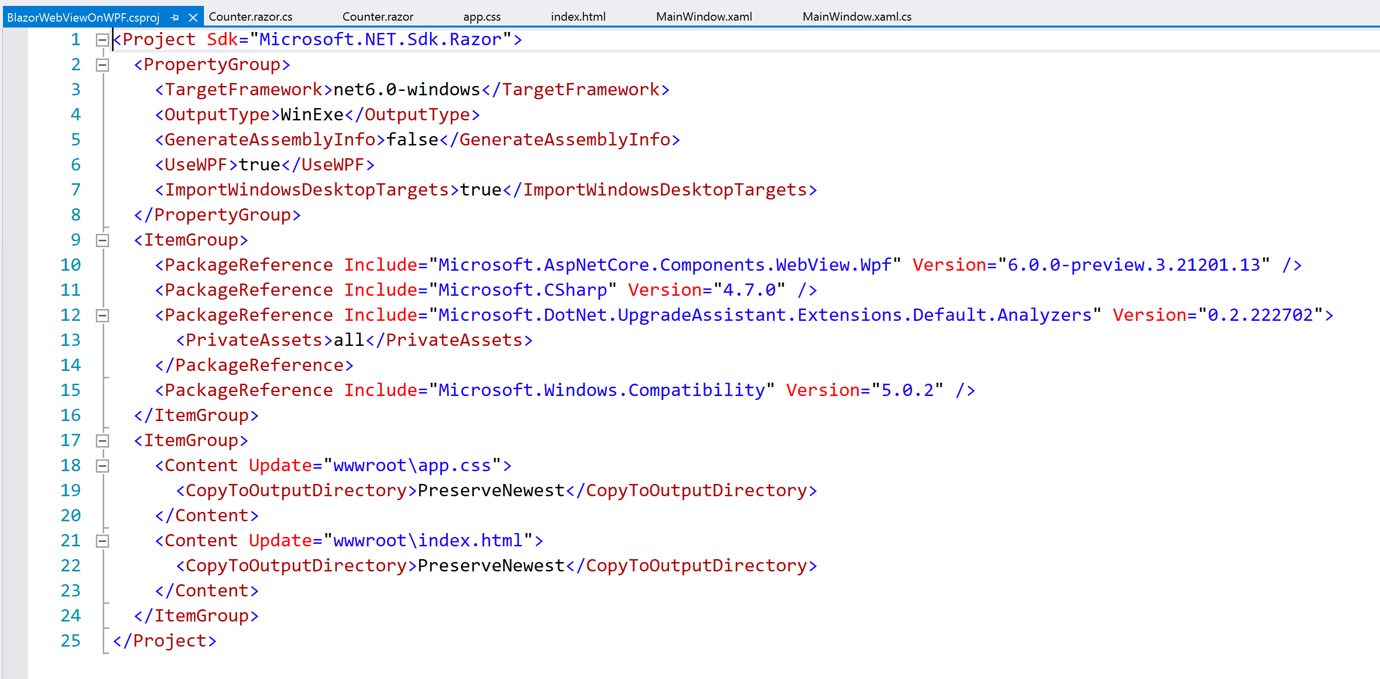 A look at some code on BlazorWebViewOnWPF.csproj