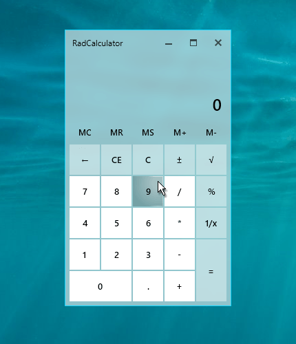 Telerik UI for WPF and WinForms - Fluent Calculator Image