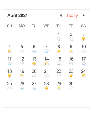 A similar calendar of April, but each day shows a small weather icon.