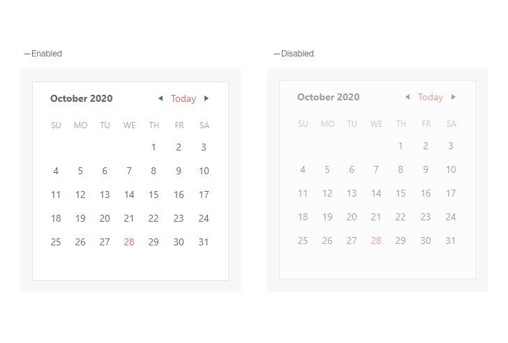 Calendar - Disabled