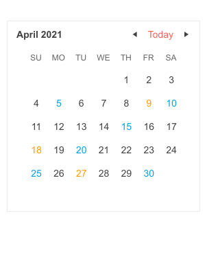 A simple calendar for April 2021 shows most type in black, but some of the days are blue and some are yellow.