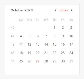 Calendar - Week Number Column