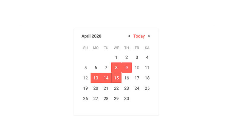 Telerik UI for Blazor Calendar Disabled Dates