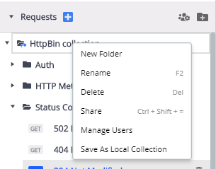 Collections Context Menu open in a popover on HttpBin collection, offering these options: New Folder, Rename, Delete, Share, Manage Users, Save as Local Collection.