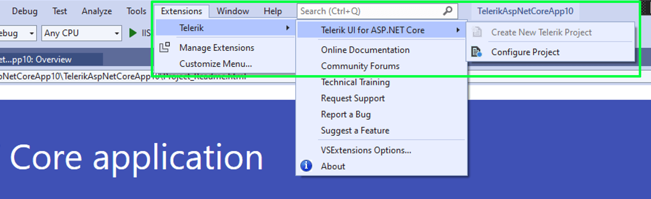 Configure Project Wizard for UI for ASP.NET Core