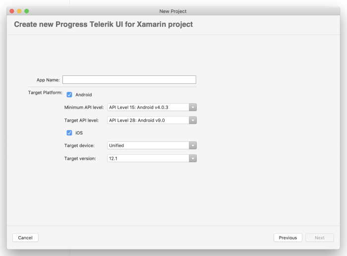 Create New Telerik UI project on Mac