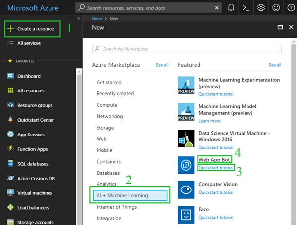 Create web app bot in Azure