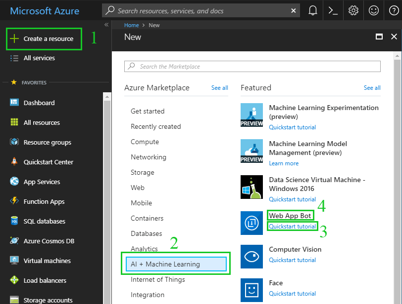 Create web app bot in Azure
