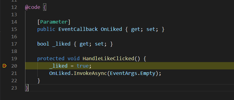 A paused breakpoint in VS Code