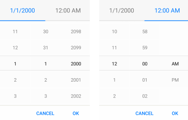 default look date and time picker for xamarin