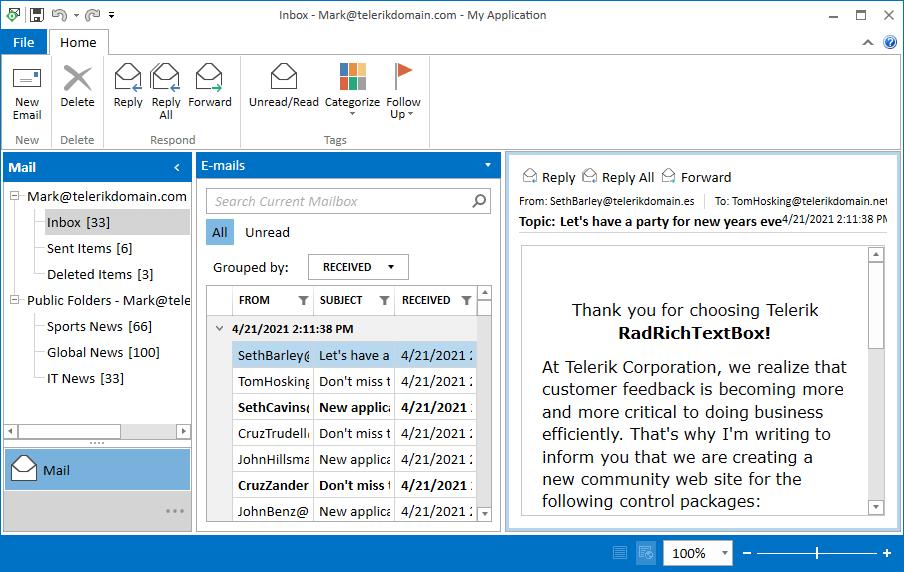 Demo mail app inbox