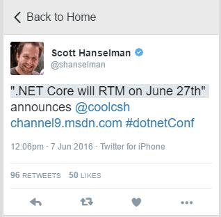 DotNetCore RTM