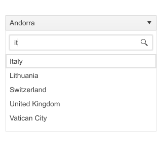 A header bar says Andorra and has a down arrow. A search field shows a user has typed 'it' and Italy is shown at the top of a list that includes Lithuania, Switzerland, United Kingdom, and Vatican City.