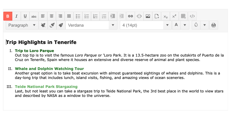 Telerik UI for ASP.NET MVC Editor Create a list with Roman Numerals