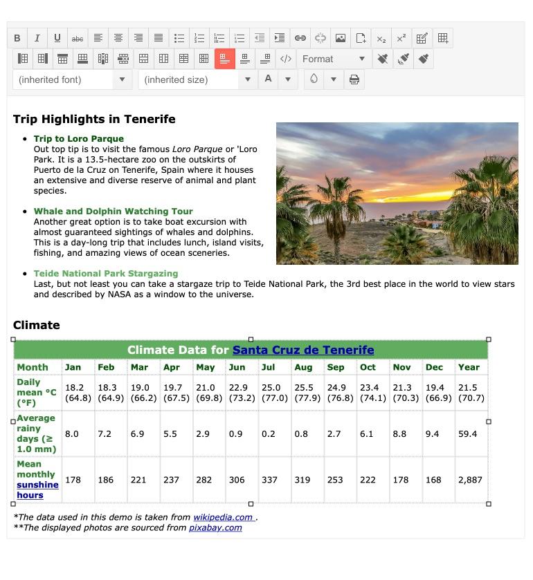 Telerik UI for ASP.NET MVC Editor Table Aligning Tool
