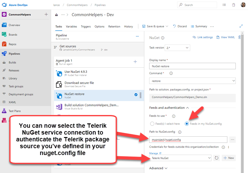 Azure DevOps and Telerik NuGet Packages