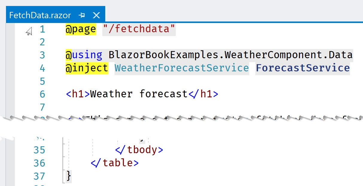 The markup section of the FetchData component spans 37 lines.