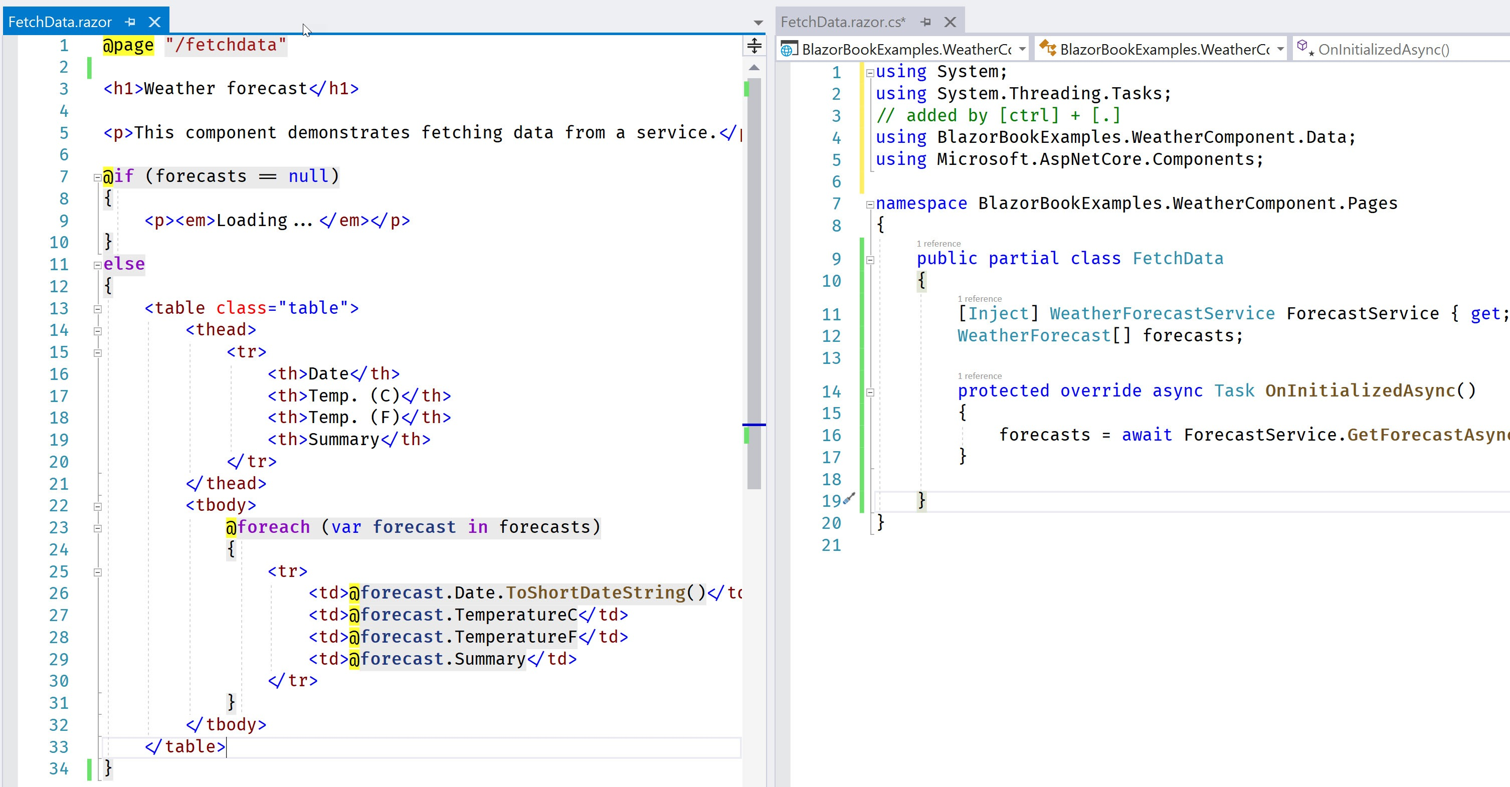 A side-by-side view of the FetchData component, markup on the left and logic on the right.