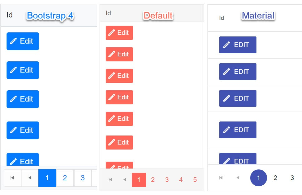 Default, Bootstrap and Material themes