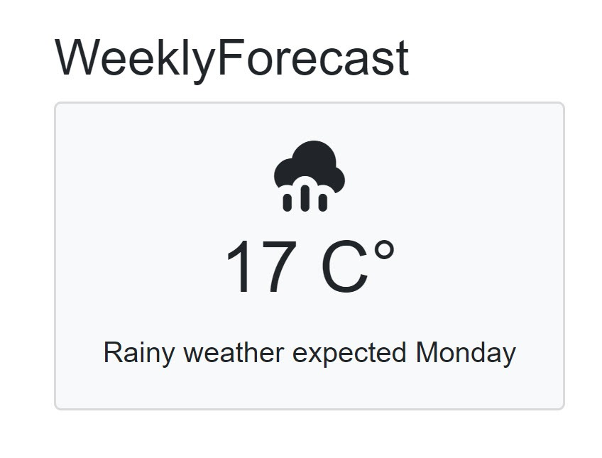 A prototype of the weekly forecast page displaying a single weather forecast.