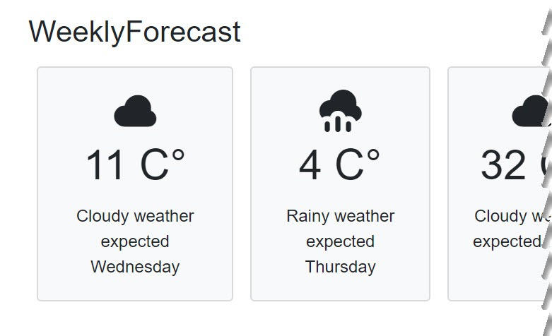 The weekly weather page shows a repeated weather forecast card with five static elements across the page.