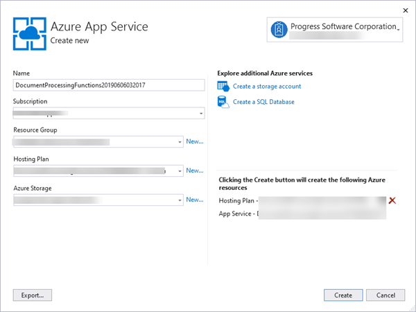 Publish To Azure Dialog
