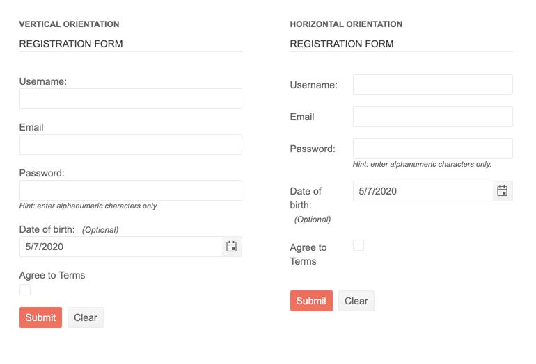 Telerik UI for PHP Form Orientation