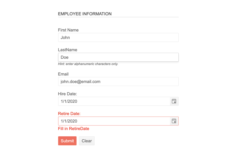 Telerik UI for JSP Form Validation