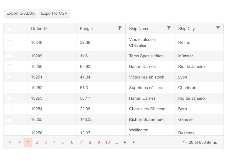 New Grid Feature: Export To CSV