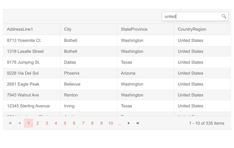 Telerik UI for Blazor Grid Search Box